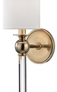 Casa Padrino Luxus Wandleuchte Antik Messingfarben / Weiß 12, 7 x 17, 2 x H. 56, 5 cm - Wandlampe mit Kristallglas und rundem Seiden Lampenschirm - Vorschau 2