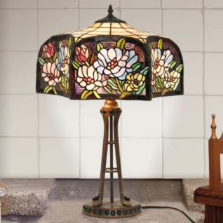 Handgefertigte Tiffany Hockerleuchte Tischleuchte Höhe 63 cm, Durchmesser 46 cm - Leuchte Lampe
