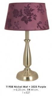 Elegante Barock Hockerleuchte in Farbe Lila, Durchmesser 25cm, Höhe 44cm T1908 Nickel Mat + 3525 Purple