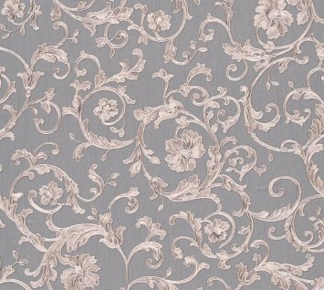 Versace Designer Barock Vliestapete Butterfly Barocco 343265 Grau / Silber  - Design Tapete - Luxus Tapete
