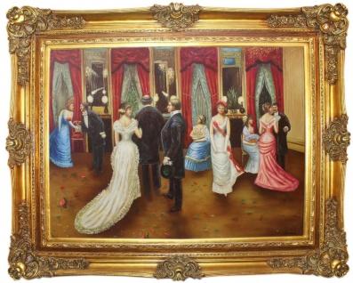 Casa Padrino Barock Ölgemälde Hochzeitsfeier 2 Mehrfarbig / Gold 160 x 10 x H. 130 cm - Handgemaltes Gemälde mit prunkvollem Rahmen im Barockstil - Barock Wanddeko