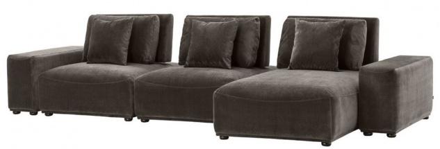 Casa Padrino Luxus Wohnlandschaft Grau / Schwarz 340 x 159 x H. 83 cm - Wohnzimmer Sofa mit 6 Kissen - Luxus Qualität