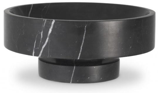 Casa Padrino Luxus Schale Schwarz Ø 33 x H. 13 cm - Runde Deko Schüssel aus hochwertigem Marmor - Luxus Deko Accessoires