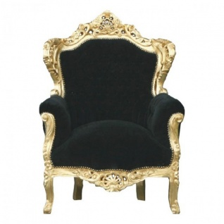 Casa Padrino Barock Sessel King Schwarz / Gold 85 x 85 x H. 120 cm - Luxus Antik Stil Sessel