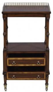 Casa Padrino Luxus Jugendstil Beistelltisch mit 2 Schubladen Dunkelbraun / Gold 42 x 33 x H. 74 cm - Telefontisch mit Rollen - Vorschau 4