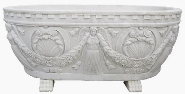Casa Padrino Luxus Barock Badewanne Weiß 198 cm - Freistehende Marmor Badewanne - Bad Accessoires - Edel & Prunkvoll