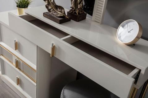 Casa Padrino Luxus Schlafzimmer Schminktisch Set Weiß / Gold / Grau - 1 Schminkkommode mit Spiegel & 1 Hocker - Luxus Schlafzimmer Möbel - Vorschau 3