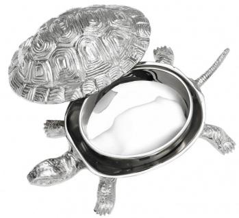 Casa Padrino Luxus Schatulle mit Deckel Schildkröte Messing vernickelt 19, 5 x 10, 5 x H. 6, 5 cm - Luxus Dekoration - Vorschau 3
