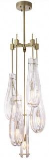 Casa Padrino Luxus Kronleuchter Messingfarben Ø 37 x H. 95, 5 cm - Moderner Metall Kronleuchter mit Glas Lampenschirmen - Luxus Qualität