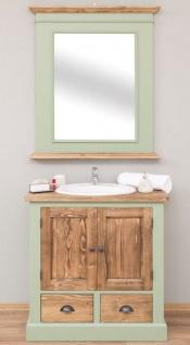 Casa Padrino Landhausstil Badezimmer Set Hellgrün / Braun - 1 Waschtisch & 1 Wandspiegel - Massivholz Badezimmer Möbel im Landhausstil
