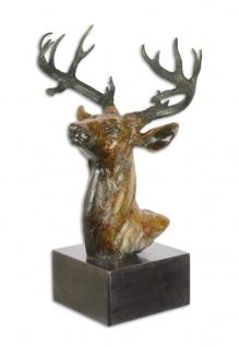 Casa Padrino Luxus Bronze Skulptur Hirsch Kopf 23, 2 x 31, 8 x H. 51, 5 cm - Bronzefigur mit Marmorsockel - Deko Accessoires