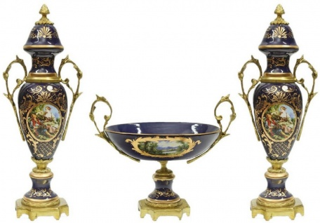 Casa Padrino Barock Keramik Vasen Set mit Schale Dunkelblau / Mehrfarbig / Gold - Prunkvolle Deko Accessoires im Barockstil