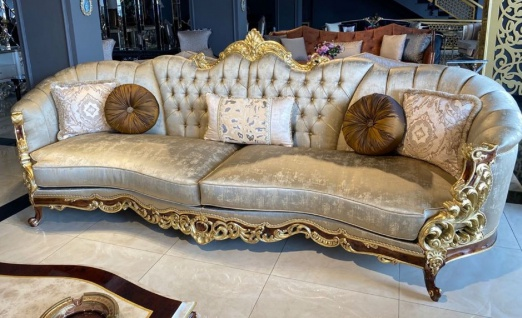 Casa Padrino Luxus Barock Sofa Silber / Braun / Gold - Prunkvolles Barockstil Wohnzimmer Sofa - Barock Wohnzimmer Möbel