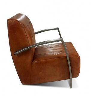 Casa Padrino Vintage Industrial Echtleder Lounge Sessel - ALLE FARBEN - Luxus Wohnzimmer Sessel Industrie Design Möbel Büffelleder - Vorschau 2