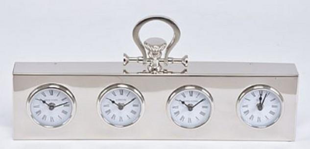 Casa Padrino Luxus Tischuhr Silber 49 x 5 x H. 25 cm - Dekorative Messing Uhr - Vorschau