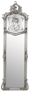 Casa Padrino Barock Spiegel Silber 55 x H. 175 cm - Handgefertigter Antik Stil Wandspiegel - Ganzkörperspiegel - Garderoben Spiegel - Wohnzimmer Spiegel - Barockstil Möbel
