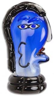 Casa Padrino Designer Glas Skulptur Frauenkopf Blau / Schwarz / Rot 21, 1 x 16, 5 x H. 37, 4 cm - Abstrakte Deko Glasfigur - Deko Accessoires