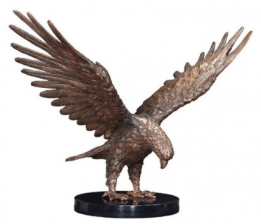 Casa Padrino Luxus Adler Bronzefigur Bronze / Schwarz 30 x 20 x H. 30 cm - Luxus Deko Figur mit Marmorsockel