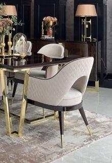 Casa Padrino Luxus Art Deco Esszimmer Stuhl Set Beige / Dunkelbraun / Gold - Küchen Stühle 6er Set - Hochwertige Art Deco Esszimmer Möbel