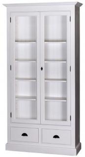 Casa Padrino Landhausstil Wohnzimmer Vitrinenschrank Weiß 109 x 39 x H. 210 cm - Wohnzimmerschrank mit 2 Glastüren und 2 Schubladen