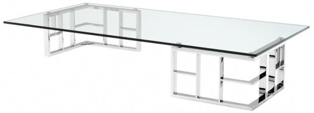 Casa Padrino Luxus Couchtisch / Wohnzimmertisch Silber 180 x 90 x H. 32, 2 cm - Luxus Kollektion