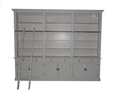 Bücherregal im Landhausstil (B 300 x T 36 x H 240) mit Leiter (H 300 cm) weiss Antik-Look - shabby-chic Regalschrank, Bücherschrank