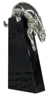 Casa Padrino Luxus Bronzefigur Panther Silber / Schwarz 17 x 6 x H. 28 cm - Elegante Dekofigur auf Holzsockel - Vorschau 3