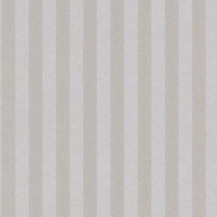 Casa Padrino Barock Textiltapete Beige / Silber 10, 05 x 0, 53 m - Barock Tapete mit Streifen