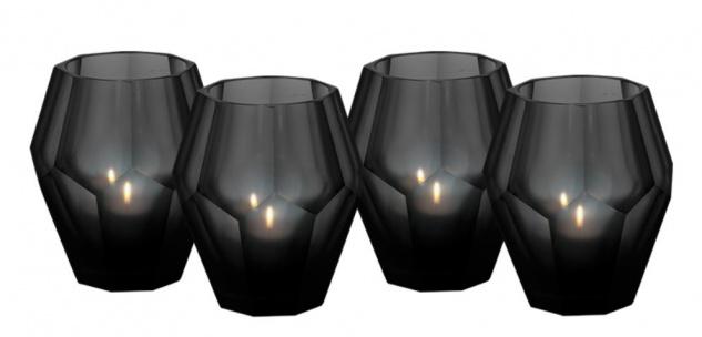Casa Padrino Teelichthalter 4er Set Schwarz 8, 5 x H. 10 cm - Luxus Qualität