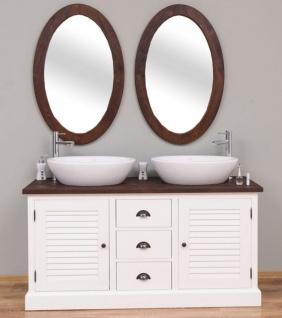Casa Padrino Landhausstil Badezimmer Set Weiß / Dunkelbraun - 1 Doppelwaschtisch & 2 Wandspiegel - Massivholz Badezimmermöbel im Landhausstil