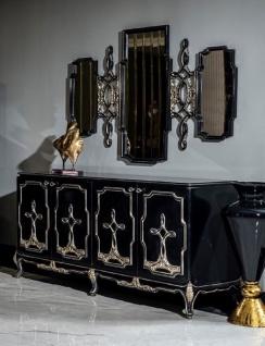 Casa Padrino Luxus Barock Möbel Set Schwarz / Gold - 1 Sideboard mit 4 Türen & 1 Spiegel - Handgefertigte Barock Möbel - Edel & Prunkvoll