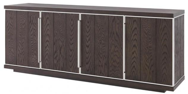 Casa Padrino Luxus Sideboard mit 4 Türen Braun / Silber 200 x 49, 5 x H. 78 cm - Wohnzimmerschrank - Büroschrank - Kommode - Luxus Qualität