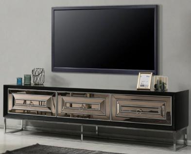Casa Padrino Luxus TV Schrank mit 3 verspiegelten Schubladen Schwarz / Silber 220 x 49 x H. 64 cm - Wohnzimmer Möbel - Luxus Qualität