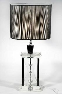 Elegante Kristall Hockerleuchte mit schwarzem Schirm Leuchte Lampe