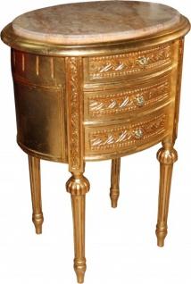 Casa Padrino Barock Kommode Gold mit Marmorplatte H 70 cm, B 52 cm - Nachttisch Konsole