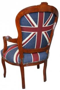 Casa Padrino Barock Salon Stuhl Union Jack / Mahagoni Braun - Englische Flagge - England - Vorschau 2