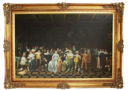 Riesiges Handgemaltes Barock Ölgemälde Feier mit Gästen Mehrfarbig / Gold 225 x 165 x 10 cm - Prunkvolles Barock Gemälde - Handgemalt - Massives Material - Prunkrahmen