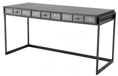 Casa Padrino Luxus Schreibtisch mit 3 Schubladen Schwarz / Grau 150 x 60 x H. 75 cm - Luxus Büromöbel
