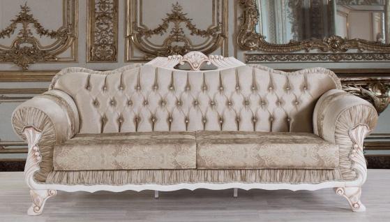 Casa Padrino Barock Sofa Braun / Weiß / Beige 230 x 84 x H. 100 cm - Prunkvolles Wohnzimmer Sofa mit Glitzersteinen - Barockstil Möbel
