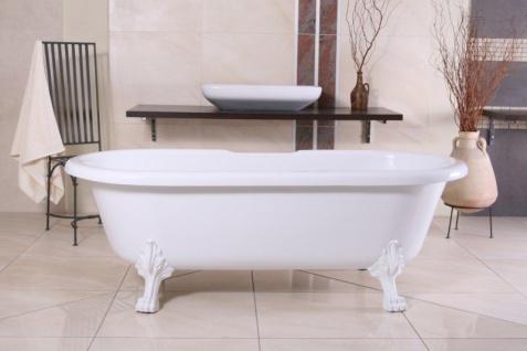 Freistehende Luxus Badewanne Jugendstil Milano Weiß/Weiß - Barock Badezimmer Badewanne Freistehend