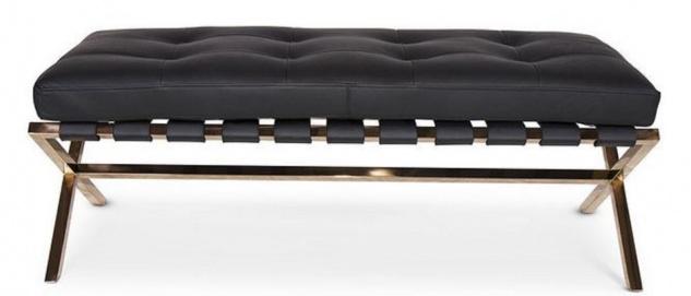 Casa Padrino Luxus Sitzbank Schwarz / Rosegold 120 x 45 x H. 40 cm - Edelstahl Bank mit Italienischem Leder - Gepäckablage - Hotel Möbel & Accessoires