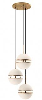Casa Padrino Luxus Hängeleuchte Antik Messingfarben / Weiß Ø 45 x H. 190 cm - Luxus Wohnzimmerlampe