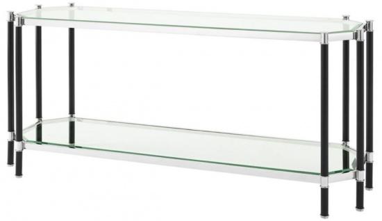 Casa Padrino Wohnzimmer Konsolentisch Silber / Schwarz 169 x 53, 5 x H. 75, 5 cm - Luxus Konsole