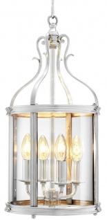Casa Padrino Luxus Hängeleuchte Antik Silber 26 x H. 52 cm - Wohnzimmer Accessoires