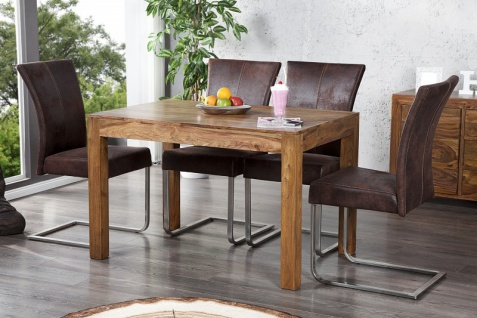 Casa Padrino Massivholz Esstisch Sheesham Holz 120 cm - Esszimmer Tisch Massiv
