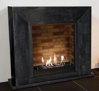 Casa Padrino Luxus Ethanol Kamin mit einem keramischen Bioethanolbrenner Schwarz / Mehrfarbig 119 x 36 x H. 101 cm - Naturstein Kamin mit Steindekor