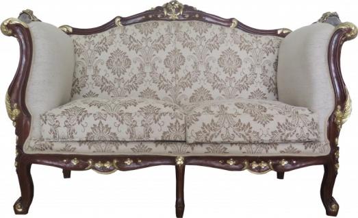 Casa Padrino Barock 2-er Sofa Creme / Braun / Gold Mod2 - Möbel Antik Stil - Limited Edition