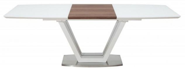 Casa Padrino Luxus Esstisch Weiß / Braun / Silber 160-220 x 90 x H. 76 cm - Moderner Ausziehbarer Küchentisch