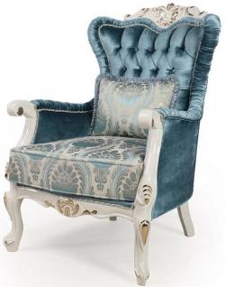 Casa Padrino Luxus Barock Wohnzimmer Sessel mit Kissen Blau / Weiß / Gold 87 x 76 x H. 115 cm - Barock Möbel - Edel & Prunkvoll