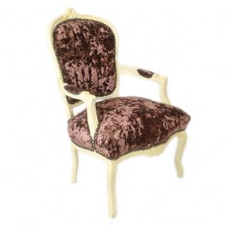 Casa Padrino Barock Salon Stuhl Braun Velour Stoff / Creme - Antik Design Möbel - Vorschau 2